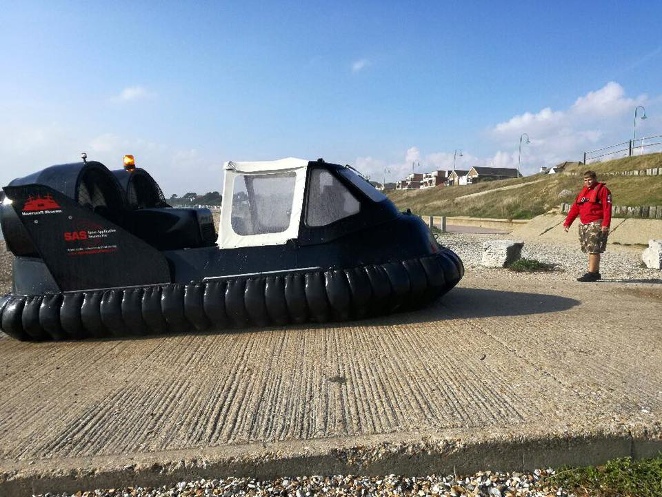 A Hoverguard 800 landed on a concrete slipway on a clear day.