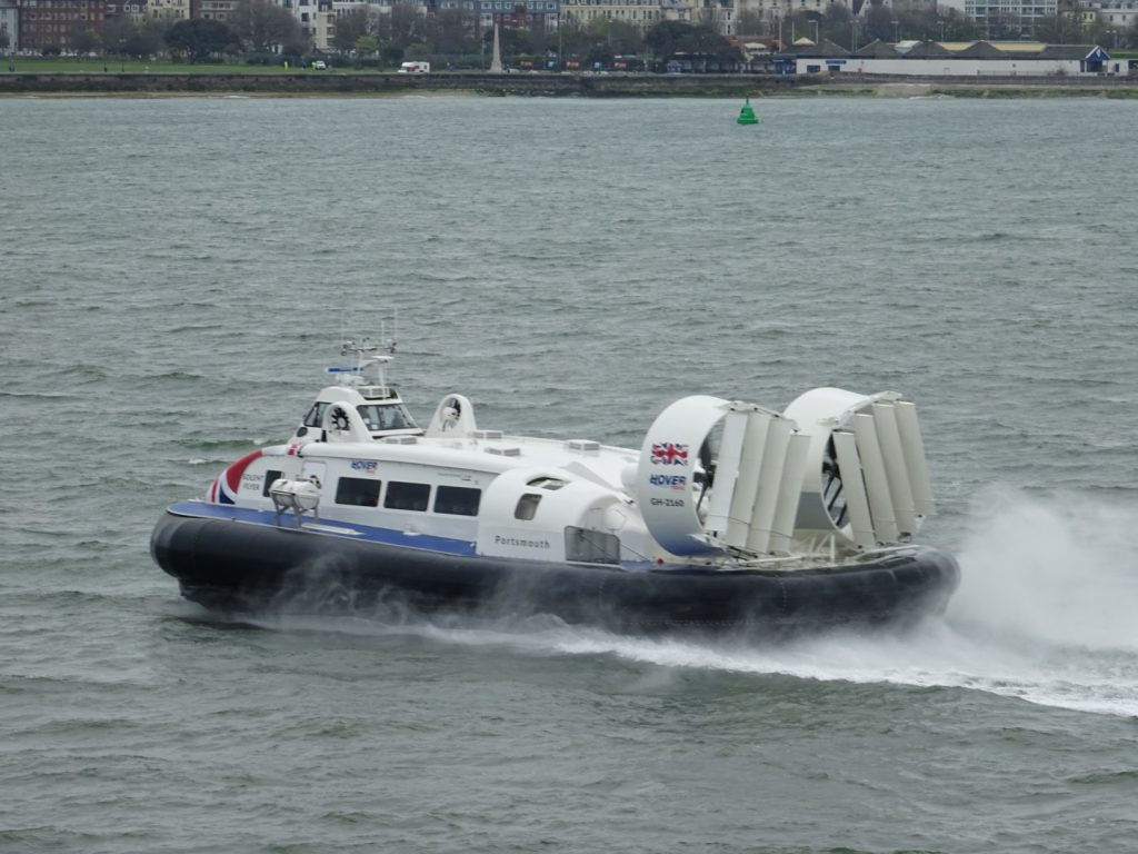 The Solent Flyer Griffon 12000TD Hovercraft flying across the Solent between the Isle of Wight and the mainland.