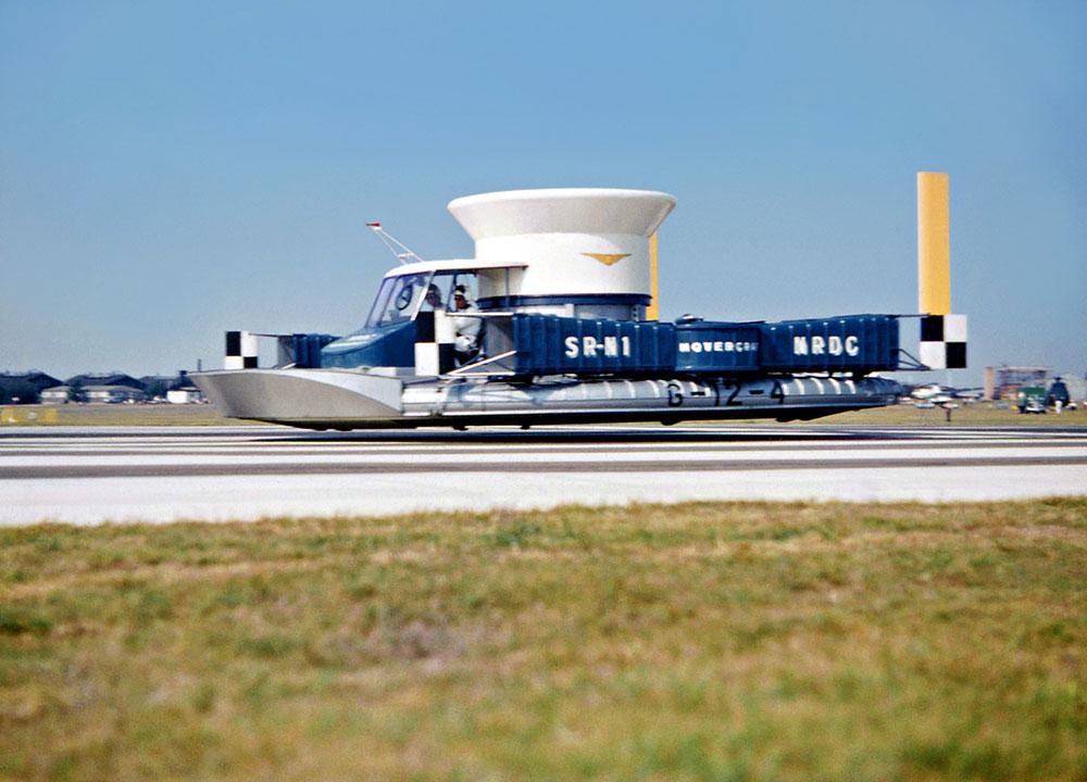 An SRN1 hovercraft flying along Farnborough runway
